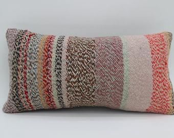 10x20 Multicolor Kilim Pillow Striped Kilim Pillow Turkish Kilim Pillow 10x20 Pillow Cover Throw Pillow Boho Pillow Sofa Pillow SP2550-1721