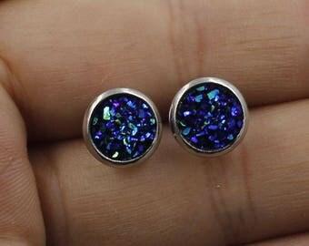 Druzy Diamonds: Night Sky Blue Sparkle Quartz Gemstone Stud Earrings