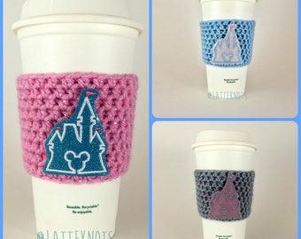 Cinderella Castle Coffee Cup Cozy / Crochet Coffee Sleeve / Reusable Cozie / Customizable