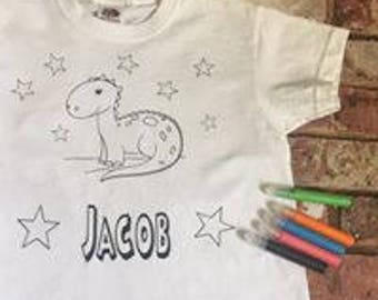 Personalised colouring in dinosaur t shirt