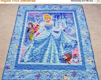 ON SALE NOW Feel the Magic! Sparkling Princess Cinderella Quilt, Toddler Gift Idea, Minky Backing, Professionally Quilted, 43 x 48