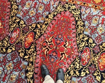 Large Vintage Oushak Medaillon rug 16th century design 13 x 8 ft semi antique carpet