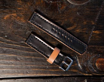 20mm Shell Cordovan Watch Strap Hand Stitched Made to Order and Customizable