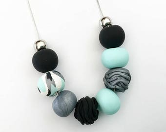 Mint, Black & Silver Polymer Clay Necklace
