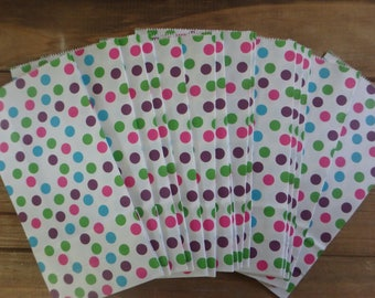 Polka Dot Bags, Polka Dot Favor Bags, Polka Dot Paper Bags, Party Favor Bags, Gift Bags, Polka Dots, White Favor Bags, Birthday Party Bags