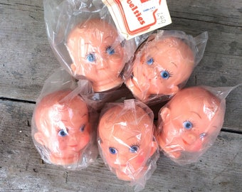 Lot of 5 Vintage Rubber Doll Heads