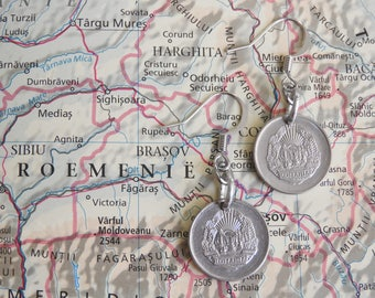 Romania coin earrings - 2 different designs - made of original coins from Romania - wanderlust - globetrotter