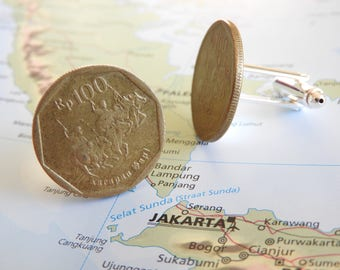 Indonesia coin cufflinks - made of original coins from Indonesia - traveler - Jakarta - Asia