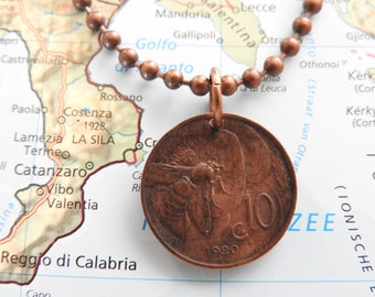 Italy 1920/1926 vintage coin necklace - original - birth year - Rome - wedding present - 97th - 91th birthday