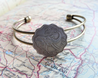 Swaziland coin cuff bracelet - made of an original coin from Swaziland - Elephant - Africa - wanderlust gift - travellife