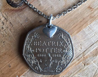 Original Beatrix Potter's Peter Rabbit coin necklace - limited edition - bookjewelry - original gift - United Kingdom