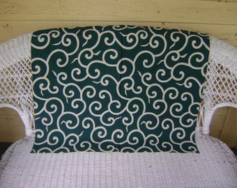 Vintage Small Furoshiki Fabric/White Arabesque Motifs on an Dark Green Background/Table Cloth, Wall Hangings, Craft Supplies