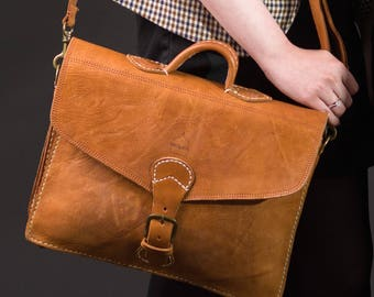 "Tan Leather Satchel Laptop Bag with Strap ""The Marrakech"" Handmade Moroccan"