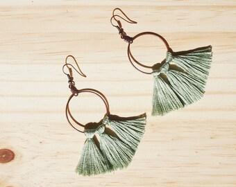 Sea Green/Blue Tassel Earrings, Hoop Tassel Earrings, Brass Earrings