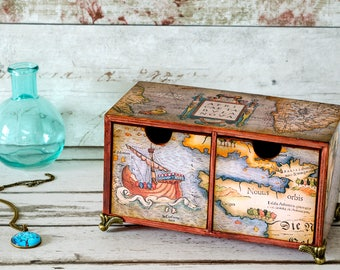 Wanderlust Desk Tidy - Vintage Map Box - Mini Chest of Drawers - Storage Box - Gift for Him - Men's Gift - Home Storage - Christmas Gift