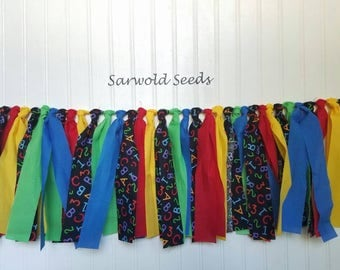 Back to School Fabric Banner, Kindergarten, Preschool, ABC's Rsg tie, Classroom Decoration