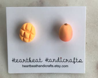 Polymer clay hand crafted mango stud earrings, cute, perfect gift, unique