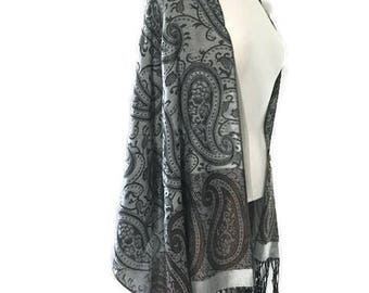 Vintage Wrap Grey Tones with Paisley Patterns Multi use Wrap Reversible