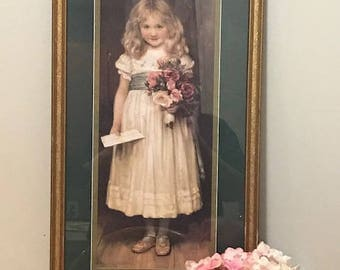 Home Interior Picture Victorian Wall Decor Small Girl Holding a  Bouquet Roses with a Letter
