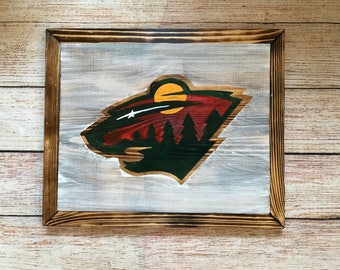 Minnesota Wild wood sign -hand painted/stained