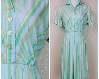 Beautiful Pastel Striped Cotton Day Dress