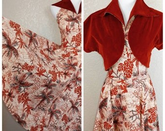 Incredible Vintage Hawaiian Dress with Matching Bolero