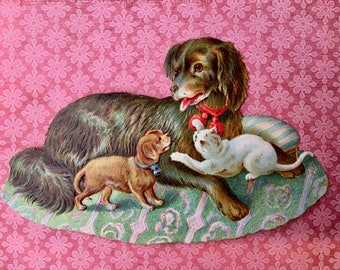 Adorable Victorian Scrap-Dog with Smaller Dog and Kitten