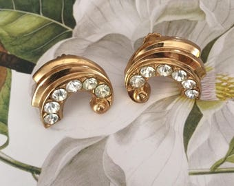 Pretty Signed Vintage Coro Screw Back Earrings Gold Tone with Clear Rhinestones