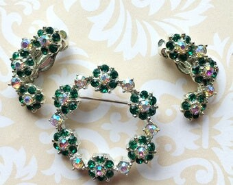 Vintage Green and Clear Crystal Brooch and Clip Earrings- set