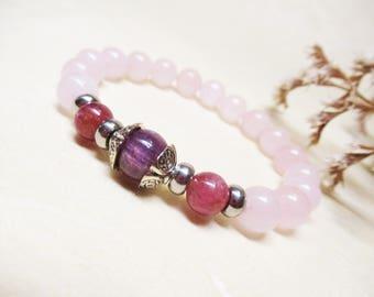 Ruby Bracelet Rose Quartz Bracelet Ruby Jewelry Fertility Bracelet Heart Chakra Bracelet Calming Bracelet Healing Bracelet Balance Bracelet