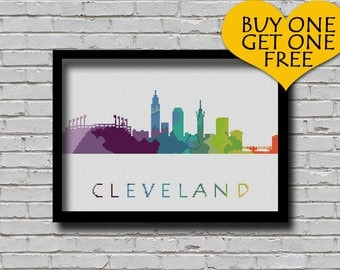 Cross Stitch Pattern Cleveland Dayton Ohio Silhouette Watercolor Effect Decor Modern Ornament Usa City Skyline xstitch Diy Chart
