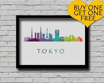 Cross Stitch Pattern Tokyo Japan City Silhouette Rainbow Watercolor Painting Effect Modern Decor Embroidery Tokyo City Skyline Xstitch