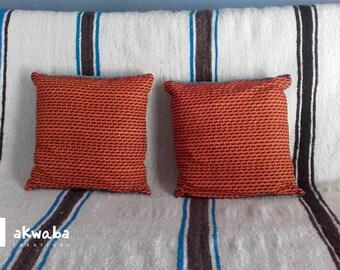 Wax Fuchsia and mustard cushion