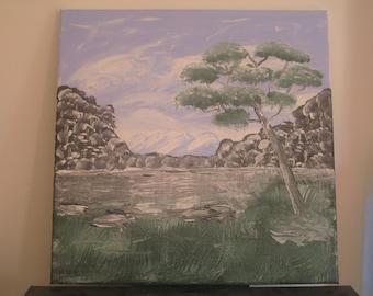 "Acrylic painting ""Australian Lake"" (1)"