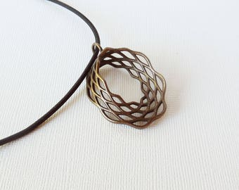 Mobius Mesh - 3D Printed Pendant in Bronze Plated Steel | 3D Printed Jewelry