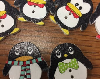Penguins two hole Craft Buttons, Crocheting, Knitting.