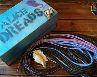 "Set of ombre DE dreads. Collection ""Sea"". For brown blue pink purple hair accessories extensions double ended dreadlocks"