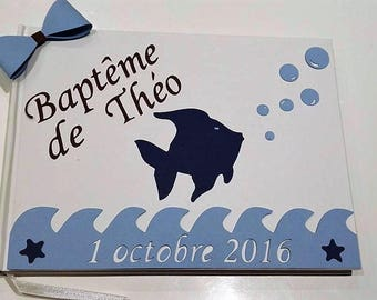 Guestbook baptism fish / sea - blue, Brown and white - customizable