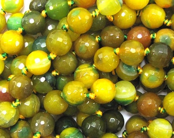 """10mm faceted agate round beads 7"""" strand green yellow 16703"""
