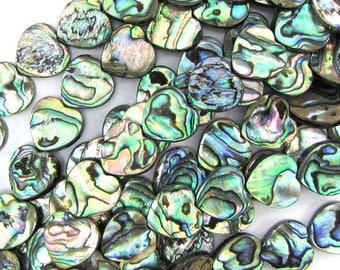 "14mm abalone shell heart beads 16"" strand 17377"