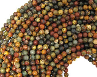 "4mm multicolor picasso jasper round beads 15.5"" strand 30949"
