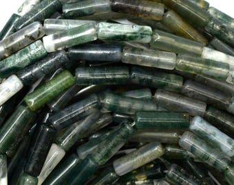 "13mm green moss agate tube beads 16"" strand 38777"