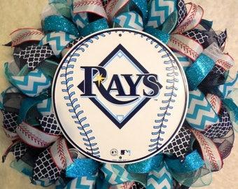 SALE Tampa Bay Rays Wreath, Rays Wreath, Sports Wreath, Baseball wreath, Tampa Bay Rays, Rays decor, Tampa Decor, Tampa Bay Rays Decor