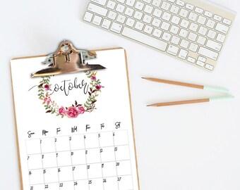2018 Calendar Printable, Calendar 2018, Printable Desk Calendar 2018, Floral Calendar 2018 Printable Wall Calendar 2018 Floral Desk Calendar