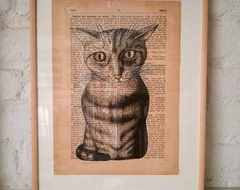 CATS No. 6. Printed drawing on recycled paper with highlights in black ink. 9,5x6,8in. Gift, Christmas, la petite illustration, cats