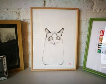 Cat. Nº 8. Original drawing. Pencil on paper. 29.5x21 centimeters. Gift, Christmas, petite illustration, cats, pets, animals.
