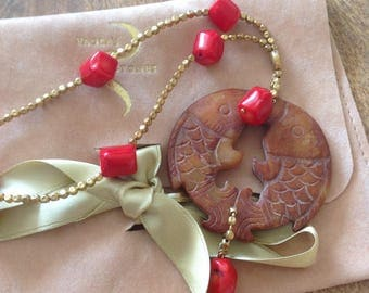 Lucky fish pendant with bamboo coral