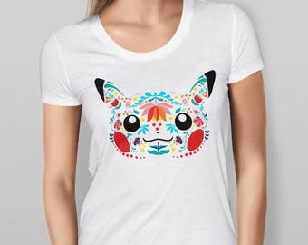 Womens Pikachu Inspired Folk Art - Printed Cotton White T-shirt