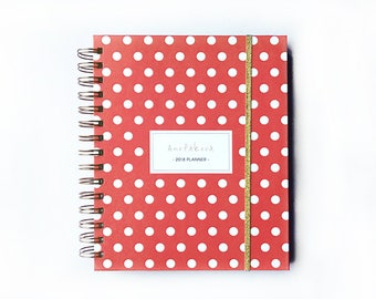 2018 planner - polka dot - 2018 agenda - 2018 daily planner -  2018 weekly planner - coral - agenda 2018 - monthly planner