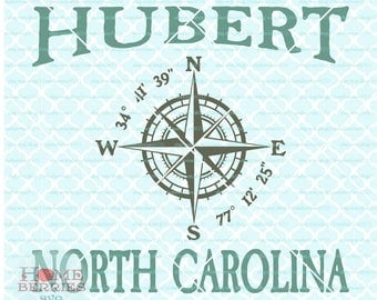 Hubert North Carolina svg Nautical Location svg Compass Rose svg Latitude svg Longitude svg dxf eps ai cut files for cutting machines